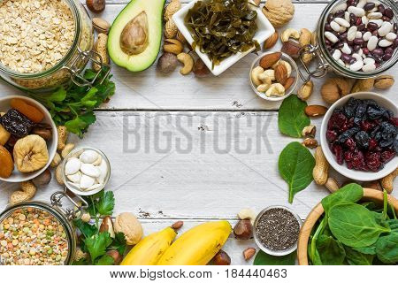 Food containing magnesium and potassium. Healthy food. Top view with copy space