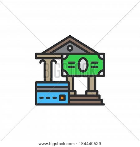 Credit card and cash payments line icon filled outline vector sign linear colorful pictogram isolated on white. Monetary transactions symbol logo illustration