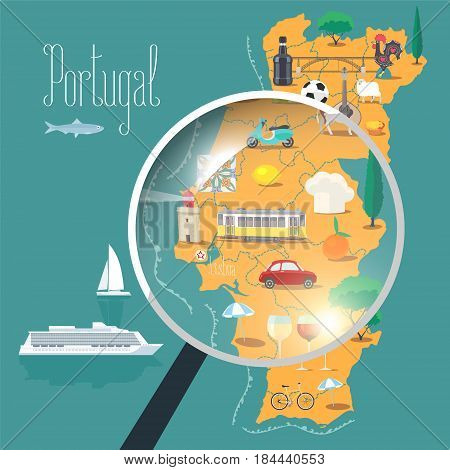 Map of Portugal with loupe vector illustration design. Icons with Portuguese landmarks culture Barcelos and food. Explore Portugal banner
