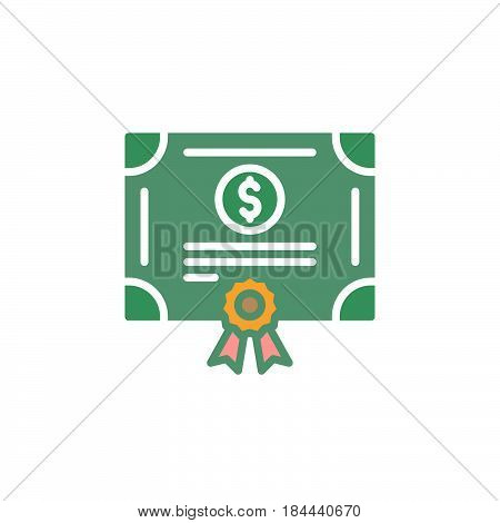 Stock share certificate icon vector filled flat sign solid colorful pictogram isolated on white. Bonds securities symbol logo illustration