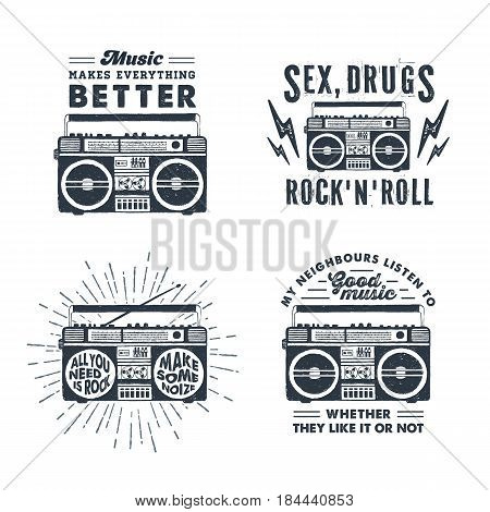 Hand drawn 90s themed set of badges with boombox recorder textured vector illustration and inspirational lettering.