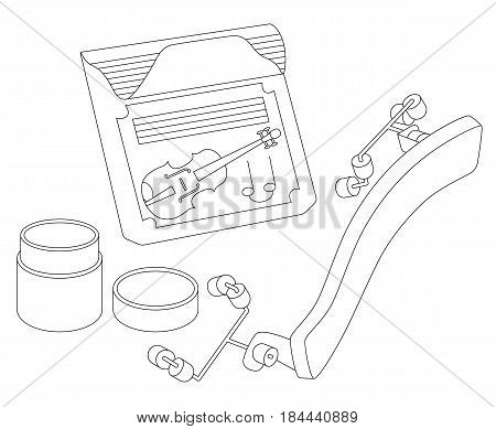 Accessories for violin: violin strings, rosin and shoulder rest. Vector illustration. Isolated on a white background. Can be used for graphic design, textile design or web design.