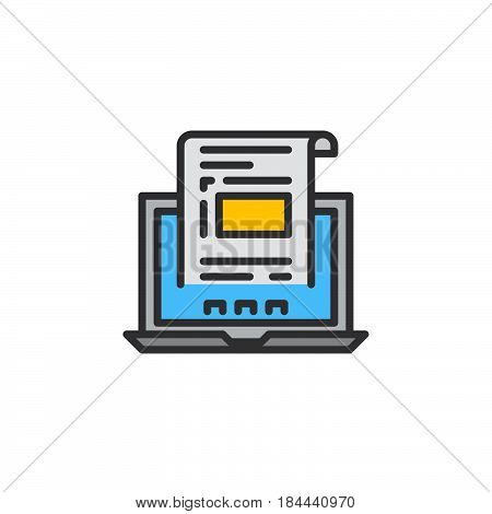Laptop with document invoice line icon filled outline vector sign linear colorful pictogram isolated on white. Symbol logo illustration