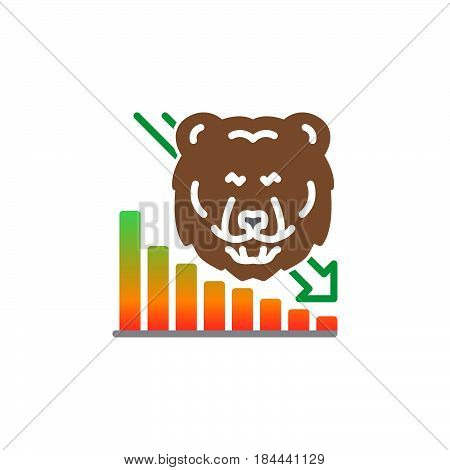 Stock market going down icon vector filled flat sign solid colorful pictogram isolated on white. Symbol logo illustration