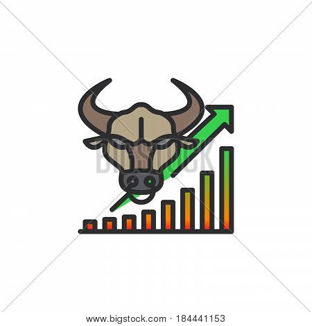 Stock market going up line icon filled outline vector sign linear colorful pictogram isolated on white. Bull trend symbol logo illustration