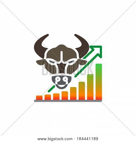 Stock market going up icon vector filled flat sign solid colorful pictogram isolated on white. Bull trend symbol logo illustration