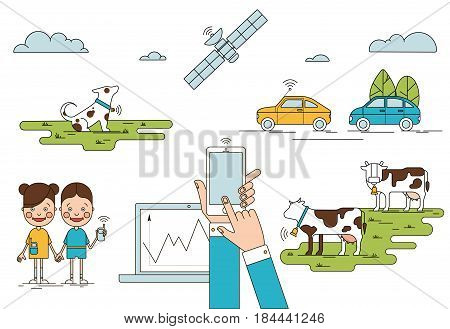 Colorful global positioning system concept with mobile laptop children holding phones cows dog cars satellite isolated vector illustration