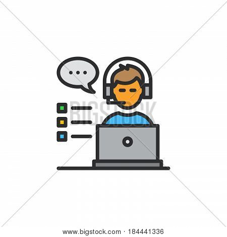 Customer support line icon filled outline vector sign linear colorful pictogram isolated on white. Symbol logo illustration