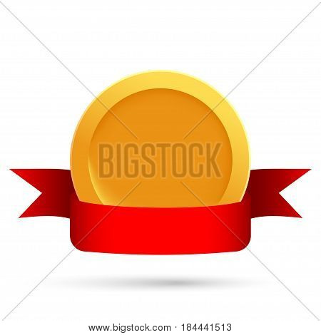 Gold medal or gold coin with a red ribbon on a white background. Gold medal template. Vector illustration