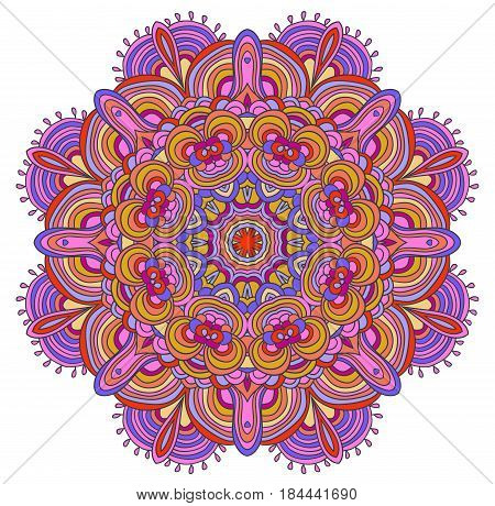 Round symmetrical pattern in green and pink colors. Mandala. Kaleidoscopic design. Sacred geometry. Zentagle. Zendala.