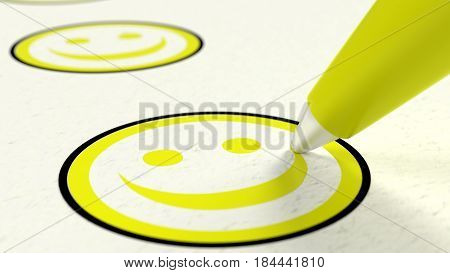 Extreme close up of yellow pen drawing smiling face in a circle checklist performance review concept 3D illustration