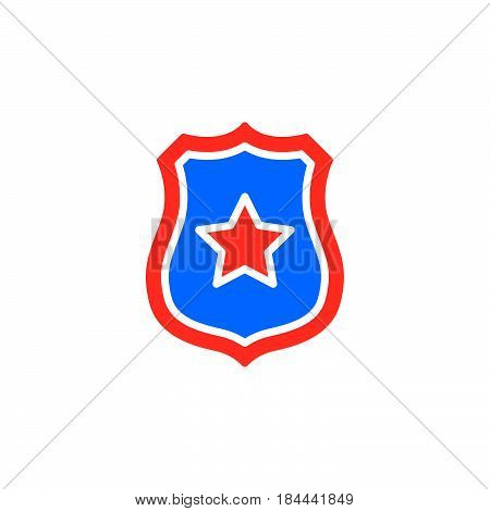 Sheriff badge with star icon vector filled flat sign solid colorful pictogram isolated on white. Public safety symbol logo illustration