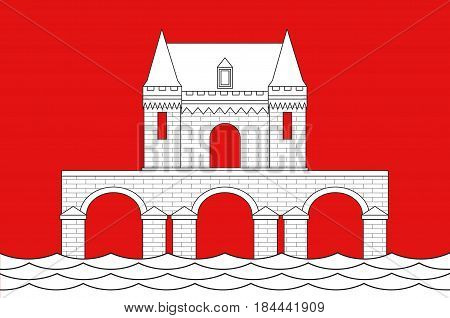 Flag of Jonzac is a commune of the Charente-Maritime department in southwestern France. Vector illustration