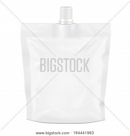 White Blank Doy-pack, Doypack Foil Food Or Drink Bag Packaging With Spout Lid. Illustration Isolated On White Background. Mock Up Template Ready For Your Design. Product Packing Vector EPS10