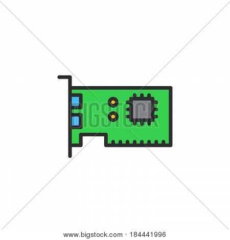 Expansion card line icon filled outline vector sign linear colorful pictogram isolated on white. Computer parts symbol logo illustration