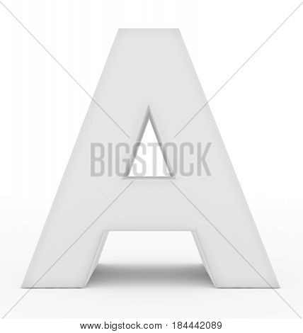 Letter A 3D White Isolated On White