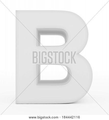 Letter B 3D White Isolated On White