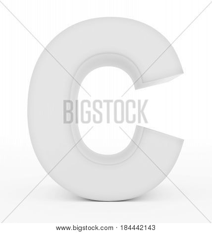 Letter C 3D White Isolated On White