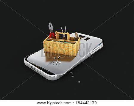 3D Illustration, Mobile Phone Repair. Broken Mobile Phone With Toolbox. Isolated Black Repair Electr