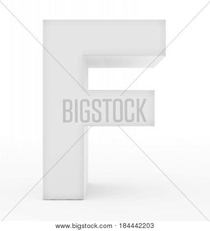 Letter F 3D White Isolated On White