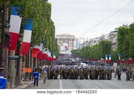 France Paris - July 14 2012. Legionnaires of the French foreign legion are preparing for marching in the parade on the Champs Elysees in Paris.