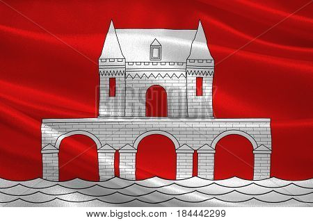 Flag of Jonzac is a commune of the Charente-Maritime department in southwestern France. 3D illustration