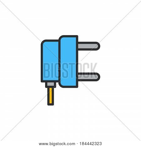 AC power plug line icon filled outline vector sign linear colorful pictogram isolated on white. Symbol logo illustration
