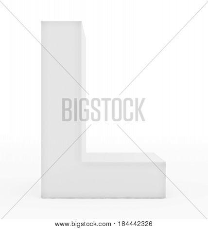 Letter L 3D White Isolated On White