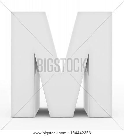 Letter M 3D White Isolated On White