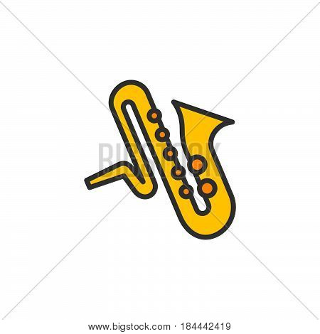 Saxophone music instrument line icon filled outline vector sign linear colorful pictogram isolated on white. Symbol logo illustration