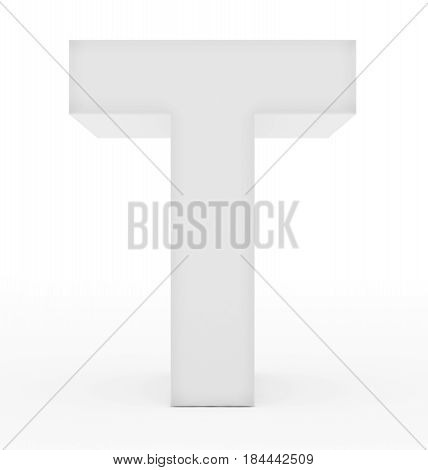 Letter T 3D White Isolated On White