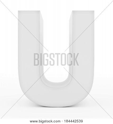 Letter U 3D White Isolated On White
