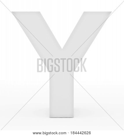 Letter Y 3D White Isolated On White