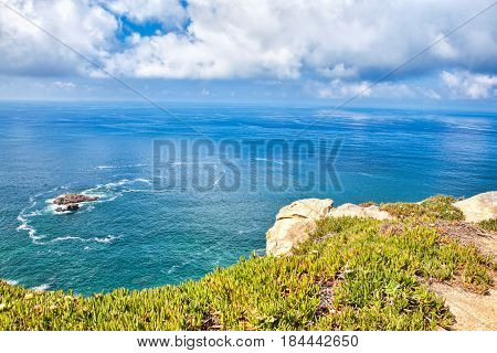 Atlantic ocean from Cabo da Roca the western point of Europe Portugal.