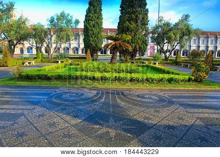 Park in front of jeronimos monastery Lisbon