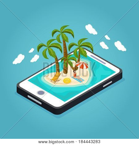 Isometric beach vacation mobile concept with woman sunbathing lifebuoy chaise lounge umbrella palms on island vector illustration