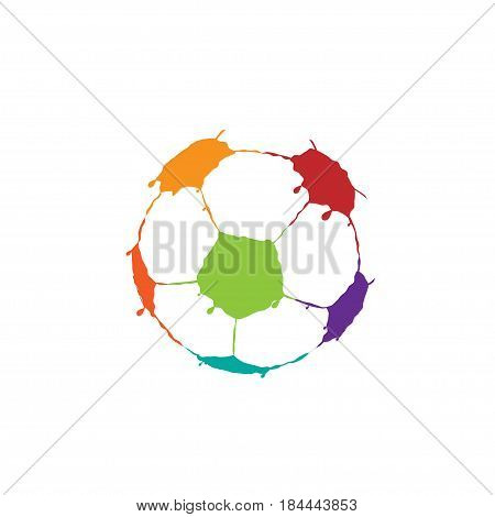 Abstract art Football Soccer ball shape. Colorful paint splashes