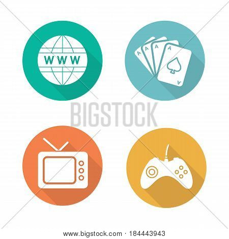 Bad habits flat design long shadow icons set. Game console joystick, www network symbol, playing cards deck, retro tv-set. Gambling, internet, gaming and tv addictions. Vector silhouette illustration poster