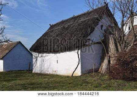 Old abandoned house, canvas roof and mud walls