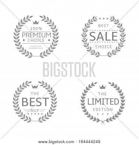 Laurel wreath icons. Sale Premium choice Best buy Limited edition