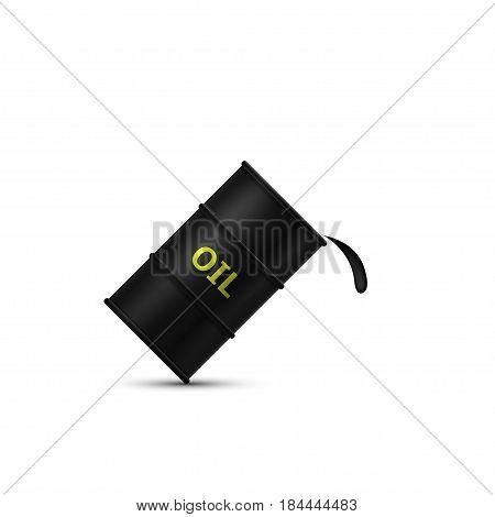 Realistic black metal oil barrel. Vector illustration