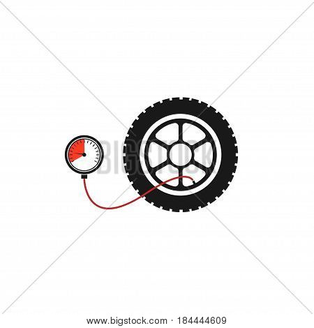 Tire pressure gauge. Car wheel with manometer