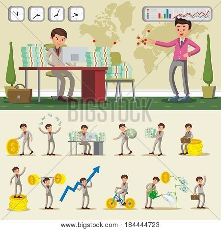 Colorful business investment composition with successful rich businessman in different situations isolated vector illustration