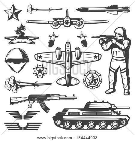 Vintage military elements collection with ground and air force missiles wings helmet awards eternal flame isolated vector illustration