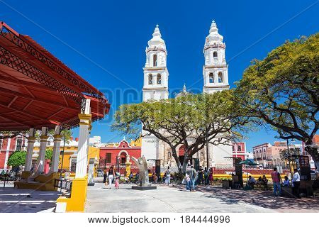 Cathedral And Plaza In Campeche, Mexico