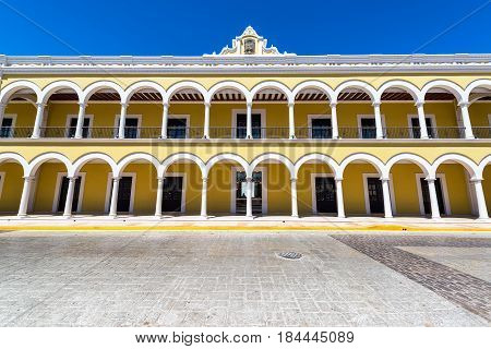 Yellow Colonial Building In Campeche