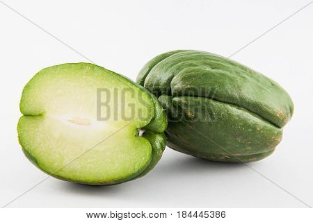 Chayote (Sechium edule) isolated in white background