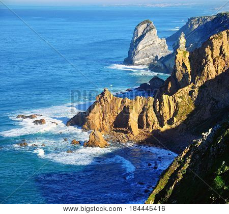 Cliffs of Cabo da Roca. Scenic landscape Portugal