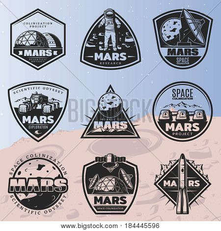 Black vintage space discovery labels set with inscriptions and cosmic research elements on Mars planet background isolated vector illustration