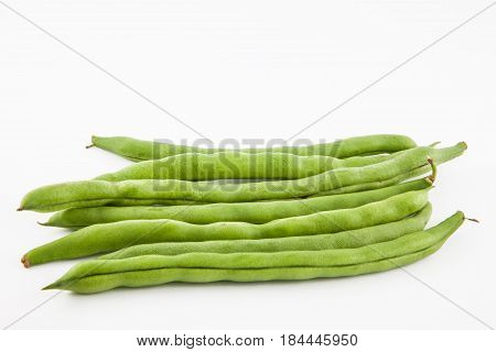 Green bean (Phaseolus vulgaris) isolated in white background